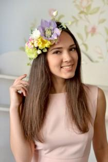 wedding photo - Boho bridal crown Exotic wedding spring floral crown Yellow bridal halo purple flower hair Boho wedding head wreath summer