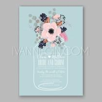 wedding photo - Anemone wedding invitation card printable template - Unique vector illustrations, christmas cards, wedding invitations, images and photos by Ivan Negin