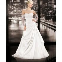 wedding photo - Simple A-line Strapless Beading Lace Sweep/Brush Train Taffeta Wedding Dresses - Dressesular.com