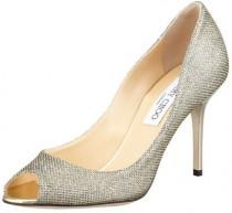 wedding photo - Jimmy Choo Evelyn Peep-Toe Glitter Pump, Light Bronze