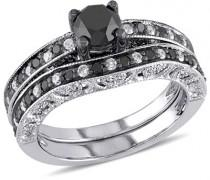 wedding photo - 1-1/4 CT. T.W. Enhanced Black and White Diamond Vintage-Style Bridal Set in Sterling Silver