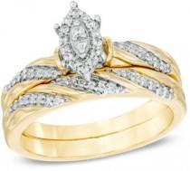 wedding photo - 1/4 CT. T.W. Marquise Composite Diamond Slant Striped Bridal Set in 10K Gold