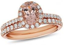 wedding photo - Oval Morganite and 5/8 CT. T.W. Diamond Frame Bridal Set in 14K Rose Gold