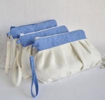 wedding photo - Set of 3  Bridesmaid Clutch Pleated Wristlet Pouch Make Up Bag Ivory Blue Floral Linen Cotton