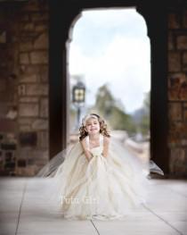 wedding photo - Ivory Gold Flower Girl Dress