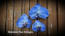 wedding photo - Blue Denim Hawaiian Orchid, Tropical Hair flower, Bridal Flower, Silk Flower, Beach Wedding, Hawaiian, Flower Headpiece, Hair Accessory