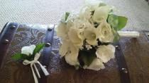 wedding photo - White Wedding Bouquet and Boutonniere with Calla Lillies and Roses