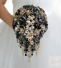 wedding photo - Wedding Bouquet Bridal Bouquet Brooch Bouquet Bridesmaids Bouquet Black Women Magic Jewelry Brooches Bouquet For Brides Gatsby Black Bouquet