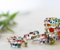 wedding photo - Real Flower Ring - Rainbow Gyp, Botanical Jewellery , Baby's Breath, Pressed Flower Ring , Nature Jewellery , Handcrafted Ring