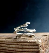 wedding photo - Silver Twig Ring Milky Aquamarine Cabochon Light Blue March Birthstone Gifts for her Botanical Jewelry