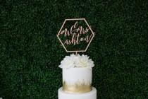 wedding photo - Laser Cut Geometric Mr & Mrs Wedding Cake Topper - (ONE) Personalized Wood Cake Topper - Custom Cake Decor Modern Calligraphy Dessert Table