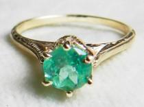 wedding photo - Emerald Ring Antique Emerald Engagement 0.70ct natural Columbian Emerald Victorian ring 14k Yellow Gold