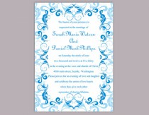 wedding photo - Wedding Invitation Template Download Printable Wedding Invitation Editable Blue Invitations Elegant Invites Turquoise Wedding Invitation DIY