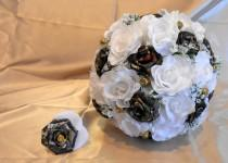 wedding photo - Camo Wedding Bouquet, Camo Bridal Bouquet, Camo Wedding, Mossy Oak Camo, White Silk Flowers, Camo Wedding, Bullet Shells