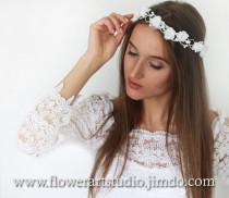 wedding photo - White Bridal Headpiece White Bridal Flower Crown Feminine Floral Crown Flower Girl Hair Wreath Flowergirl flower crown