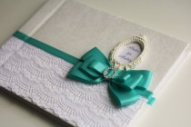 wedding photo - Mint & White Wedding Guest Book with initials  Mint Baby shower Wishes Book  Personalized Wedding Sign in Book   Ostrich Feather Pen
