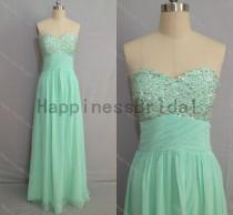 wedding photo - Mint sweetheart chiffon prom dress with beads,prom dress,floor length dress 2014,chiffon prom dress,long evening dress,real formal dress