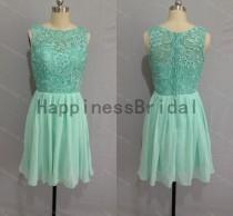 wedding photo - High quality dress 2014,mint formal dress,short prom dress ,lace chiffon prom dress,short evening dress,hot sales dress,formal evening dress