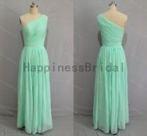 wedding photo - Mint one-shoulder chiffon prom dress with pleat,mint prom dresses,bridesmaid dress,chiffon prom dress,long evening dress 2016,formal dresses