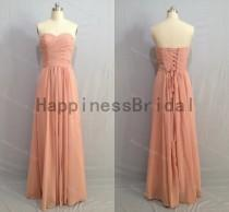 wedding photo - Dusty pink sweetheart dres with pleated,long prom dress,evening dress,fashion bridesmaid dress,chiffon prom dress,formal evening dress 2016