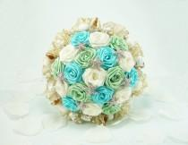 wedding photo - Ocean Waves, Wedding Bouquet, Bridal Bouquet - Beach Wedding, Summer Wedding, Beach Bridal Bouquet, Origami Bouquet, Seashell Bouquet