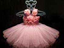 wedding photo - Flower Girl Pink Dress Tulle Dress First Birhtday Outfit Girls Birthday Tutu Girl Dress Wedding Toddler Ball Gown Tutu Dress 1 2 3 4T/ 5 6
