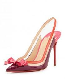 wedding photo - Christian Louboutin Suspenodo Red-Sole Colorblock Slingback Pump