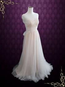 wedding photo - Blush Whimsical Beach Lace Wedding Dress With Illusion Neckline And Tulle Skirt