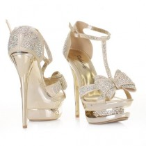 wedding photo - GOLD SATIN DIAMANTE PLATFORM BOW PROM SHOES STILETTO HIGH HEELS