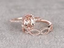 wedding photo - 2pcs Morganite Bridal Ring Set,Engagement ring Rose gold,Diamond wedding band,14k,6x8mm Oval Cut,Promise Ring,Loop curved matching band