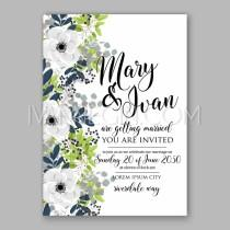 wedding photo - Anemone Bridal Shower invitation cards in light gray and navу theme - Unique vector illustrations, christmas cards, wedding invitations, images and photos by Ivan Negin