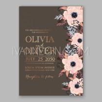 wedding photo - Anemone wedding invitation card printable template - Unique vector illustrations, christmas cards, wedding invitations, images and photos by Ivan Negin