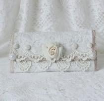 wedding photo - White Lace Fold Over Clutch , Wedding Purse , Bridesmaid Clutch , Handmade Purse , Wedding Clutch , Evening Clutch , Fabric Clutch , Elegant