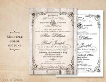 wedding photo - Printable 5x7 Wedding Invitation - Antique Calligraphy, Wood or Plain - Cottage Victorian Rustic Customized DIY - White Gray Black Neutral