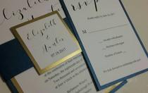 wedding photo - Gold Foil and Navy Wedding Invitations