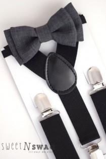 wedding photo - SUSPENDER & BOWTIE SET.  Newborn - Adult sizes. Black Suspenders. Dark grey chambray bow tie.