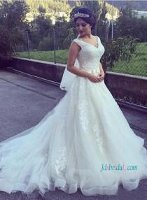 wedding photo - Strappy v neck lace princess ball gown wedding dress