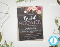 wedding photo - Rustic Floral Bridal Shower Invitation Template, Printable Rustic Bridal Shower Template, Barn Wood Bridal Shower Invite, Instant Download