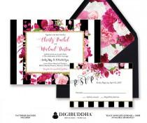 wedding photo - WEDDING INVITATIONS SUITE Wedding Invitation Set 2 Piece Wedding RsVP Invites Black White Striped Pink Ready Made Printed or DiY - Christy