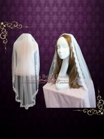 wedding photo - Finger Tip Wedding Veil with Eye Lash Lace Edge Gathered with Comb VG1055