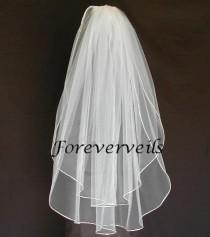 wedding photo - Fingertip Wedding Veil Fingertip 2 Tier bridal veil - 40 inch custom made white, ivory, diamond white, champagne