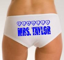 wedding photo - Bridal Lingerie, Finally Mrs, Personalized Wedding Panties, Mrs Knickers, Mrs Wedding Underwear, Wedding Gift, Custom Bride Panties