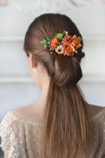 wedding photo - Rose hair comb orange flower head piece summer floral comb orange wedding summer hair back flowers bridesmaids hair peach bridal comb bright