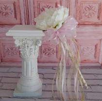 wedding photo - Flower Girl Wand- White Peony Pink and Gold Wand- Wedding Accessory