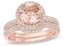 wedding photo - Precious BrideTM 8.0mm Morganite and 5/8 CT. T.W. Diamond Frame Bridal Set in 14K Rose Gold
