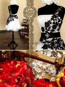 wedding photo - Open Back Short Evening Dress from White Organza and Black Flower Lace featuring One Shoulder Strap and Handmade Beaded Brooch on the Sash