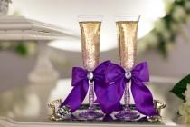 wedding photo - luxury  Purple LACE Wedding glasses / champagne flutes for bride and groom G4/6-0001