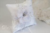 wedding photo - Pillow for rings Winter Wedding, Christmas, Snowflake, Frosty Wedding, White lace & handmade big flowers, Swarovski, pearls
