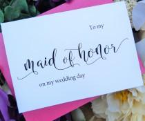 wedding photo - To My MAID of HONOR Card,  Shimmer Envelope, Wedding Party Cards, Maid of Honor Card, Wedding Stationery, Maid of Honor Gift
