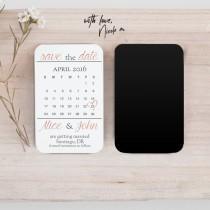 wedding photo - Mini Rose Gold Save the Date Calendar Magnet
